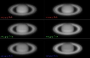 土星の衝効果・色別比較