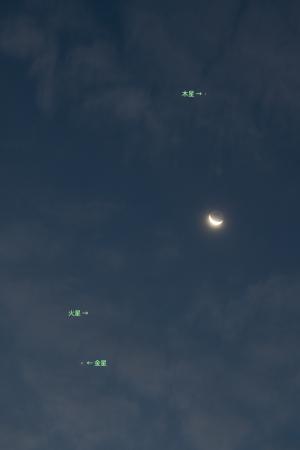 20151107明け方の惑星と月