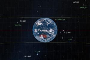 ひまわり8号から見た地球と星座の大きさ