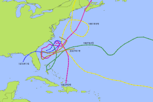 アメリカ東海域で蛇行する嵐