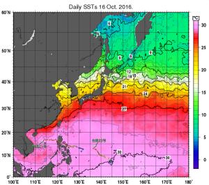 20161017-0900海面水温・台風経路マッピング