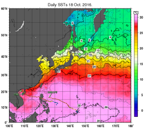 20161019-0900海面水温・台風経路マッピング