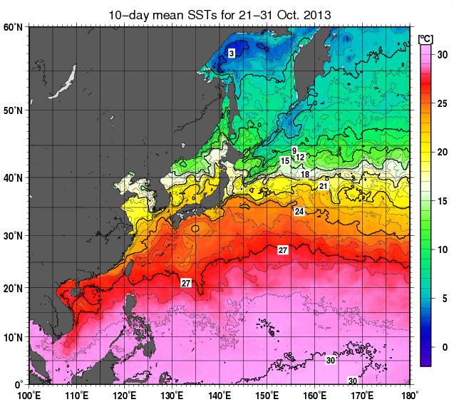 2013年10月下旬・海面温度