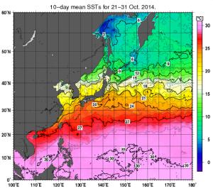 2014年10月下旬・海面温度