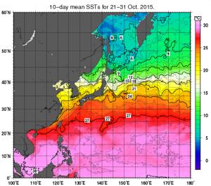 2015年10月下旬・海面温度