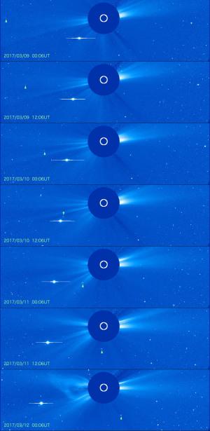 2017年3月近日点前後・エンケ彗星(2P)の動き