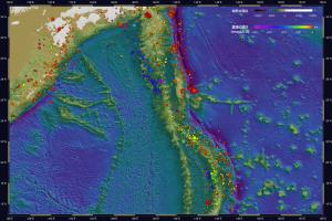海底地形・震源深度マップ