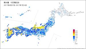 10日間降水量(20170627-20170706)