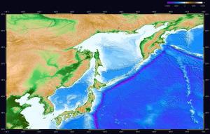 オホーツク海海域の水深