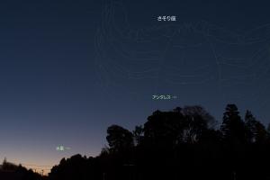 20180107登るさそり座と水星