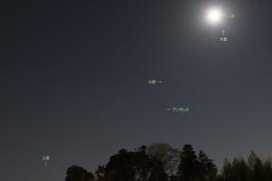 20180208明け方の月と惑星