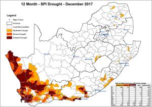 2017年南アフリカ・12ヶ月SPI値による干ばつ状況