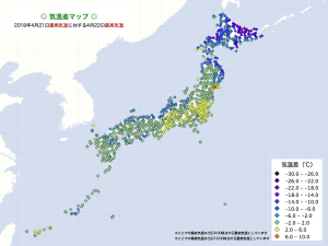 2018気温差・4/22最高気温−4/21最高気温
