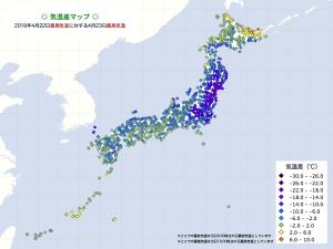 2018気温差・4/23最高気温−4/22最高気温