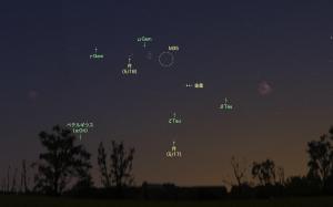 2018年5月下旬・宵空に輝く金星の周囲