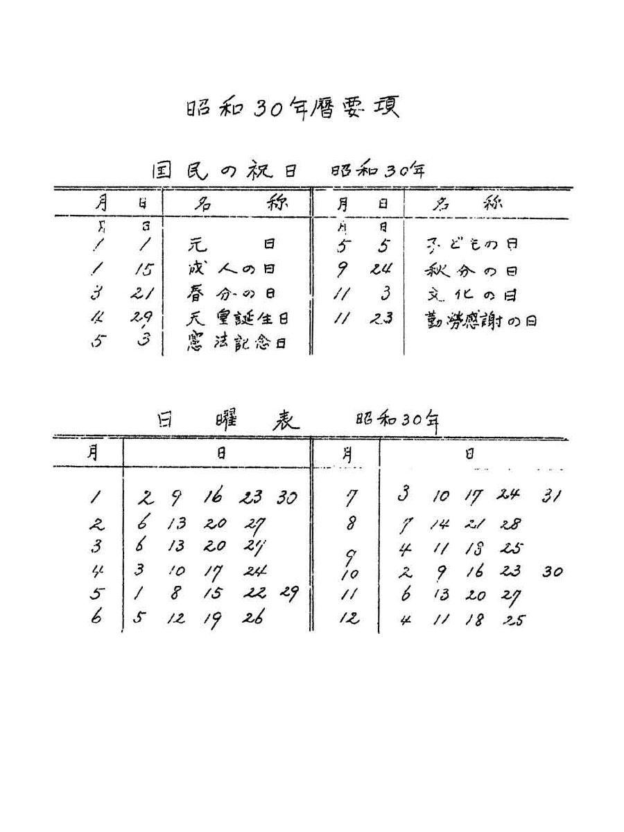 1955年暦要項