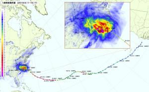 20180917ハリケーンFLORENCEによる雨量マップ
