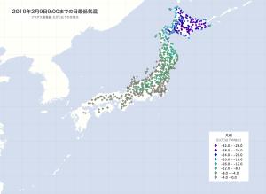 20190209-0900JST日最低気温マップ