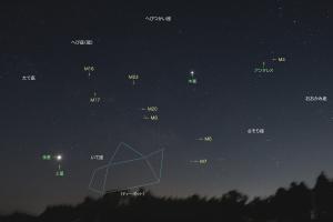 20190218明け方に登る星々