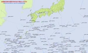 台風発生時の位置(本州付近)
