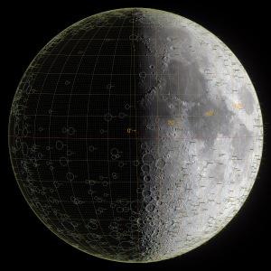 太陽黄経差90度の月面