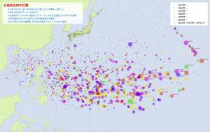 台風発生時の位置(年代別)