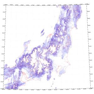 等高線地図(中部・関東・東北)