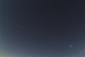 20200406沈む冬の星々+金星+ISS
