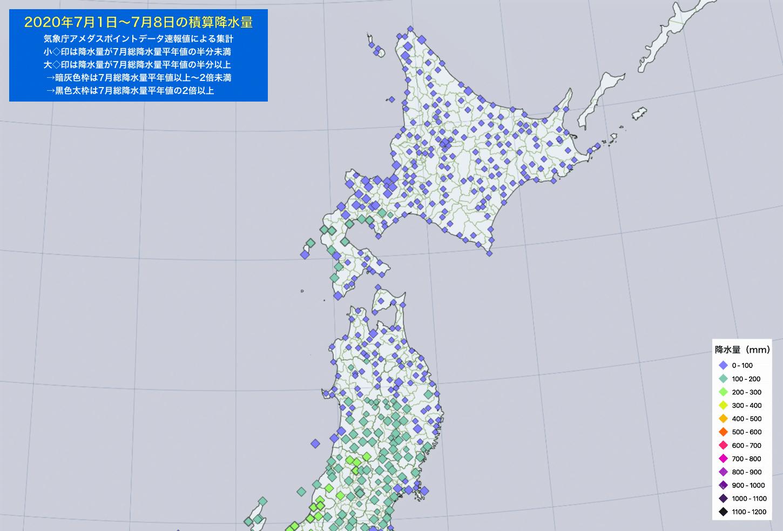 2020年7月1-8日の降水量・北日本