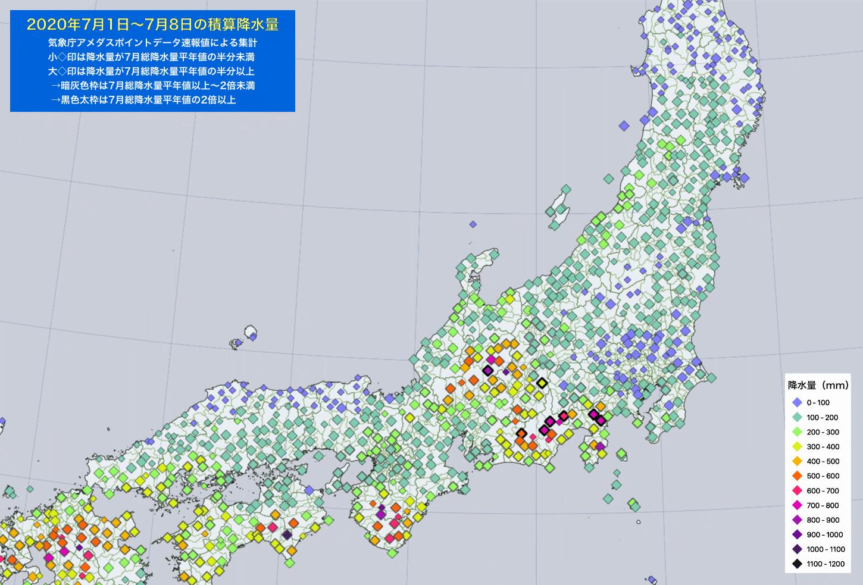 2020年7月1-8日の降水量・東日本