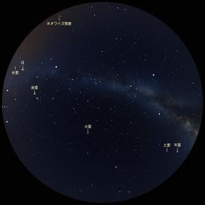 20200719全可視惑星とネオワイズ彗星