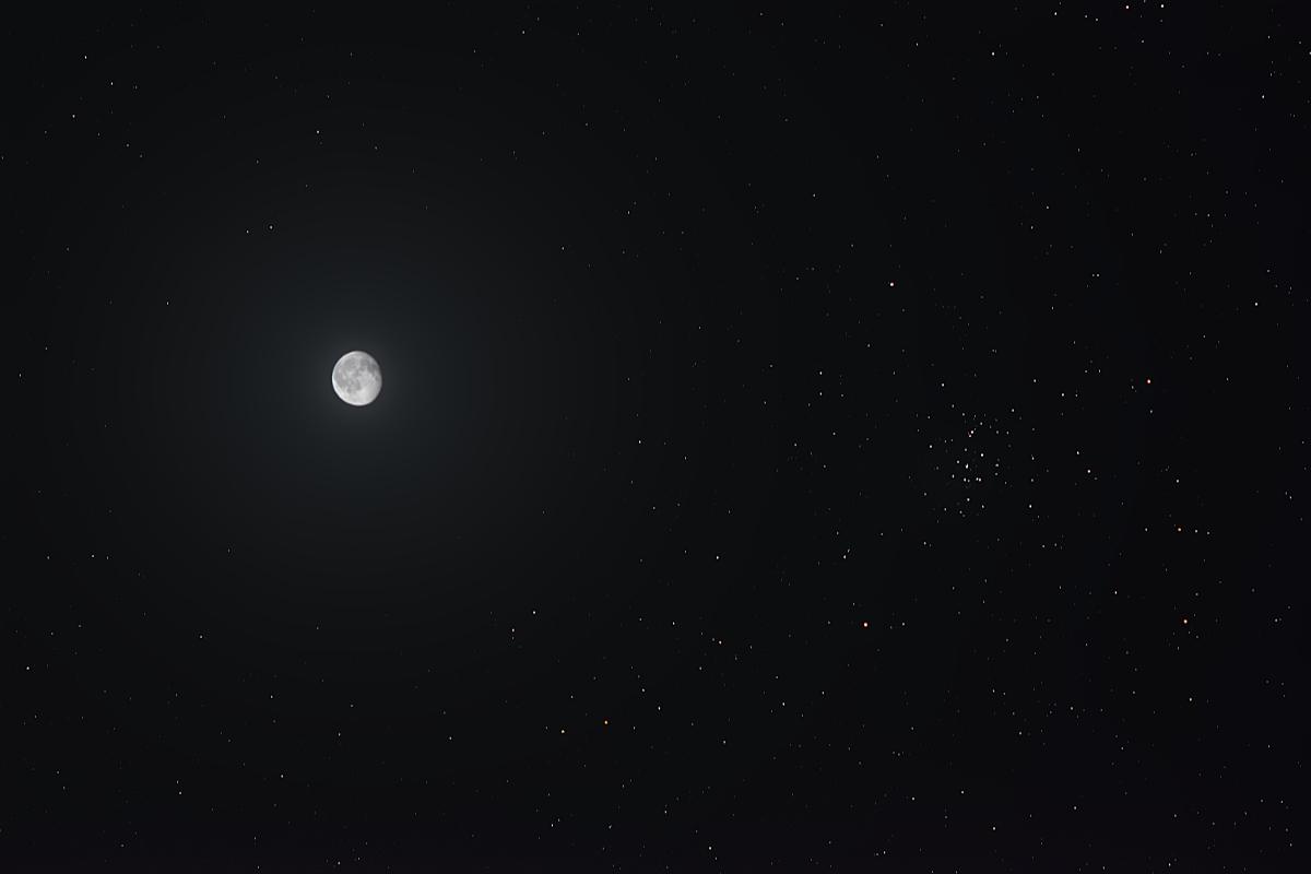 20210102月とプレセペ星団の接近