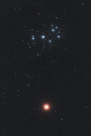 20210303火星とプレアデス星団の接近