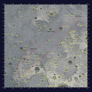 2021年12月の秤動図+月面中央傾斜度図